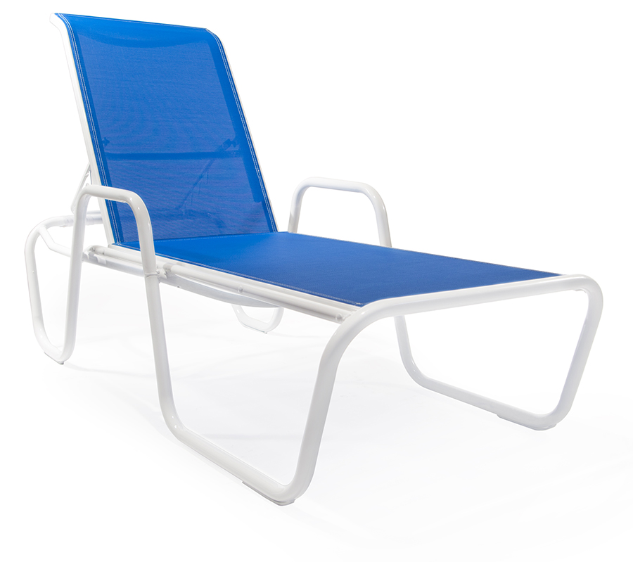 Sl kw149 stacking chaise lounge with arms roberts aluminum for Aluminum commercial stack chaise lounge
