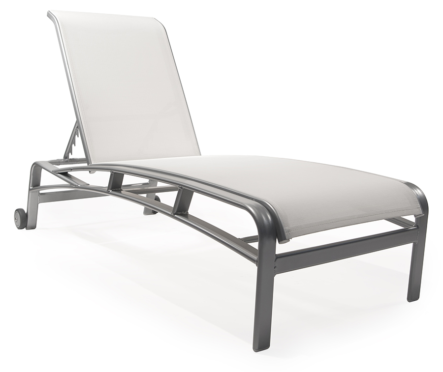 Sl qt150 stacking chaise lounge with wheels roberts aluminum - Chaise aluminium exterieur ...